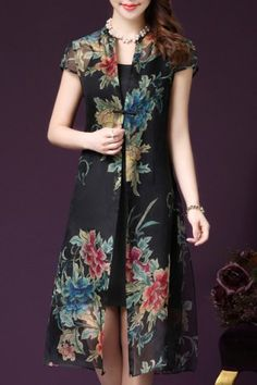 Retro Plus-Size Spaghetti Tank Dress with Cap Sleeves Floral Print Long Cardigan Twinset For Women