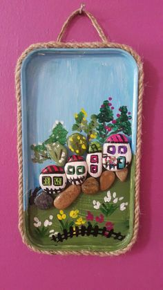 This Pin was discovered by Sar Stone Art Painting, Rock Painting Designs, Diy Painting, Rock Crafts, Fun Crafts, Crafts For Kids, Painted Rocks Craft, Art N Craft, Summer Crafts