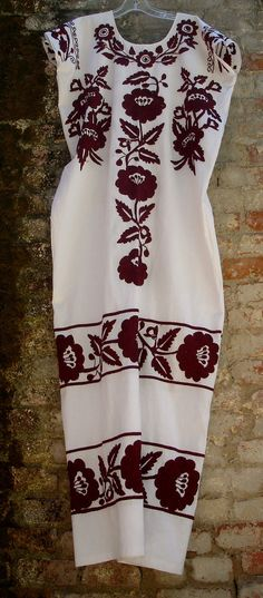 Mexican Embroidered Burgundy Flowers