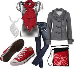 """casual in red"" by wegener-amanda ❤ liked on Polyvore"