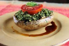 Portobello mushroom stuffed with basil pesto  From 70 y.o. Mimi Kirk, the sexiest vegetarian alive