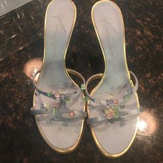 Giuseppe Zanotti Designer heels Baby blue and silver Giuseppe Zanotti designer shoes. About 2 inches tall. In great condition worn five times. Dr Shoes, Hype Shoes, Sock Shoes, Me Too Shoes, Shoes Heels, Fancy Shoes, Pretty Shoes, Aesthetic Shoes, Aesthetic Grunge