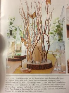 Butterfly centerpiece DIY Where could we find a tree to chop down to make our own bases? Butterfly Party Decorations, Butterfly Centerpieces, Butterfly Table, Butterfly Birthday, Butterfly Wedding, Wedding Table Centerpieces, Diy Party Decorations, Centerpiece Decorations, Wedding Flowers