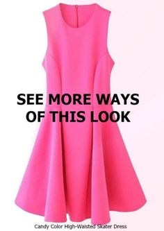 Flatters from every angle! Candy color high-waisted skater #dress.#want #fashion