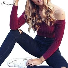 Autumn new 2017 off shoulder crop top t shirts hot sale long sleeve solid short t-shirts for women clothing fashion slim t-shirt