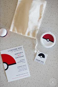 Party favors for Pokemon birthday party + modern pokemon invitation