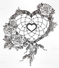 Buy Heart Shaped Dream Catcher With Feathers. Hand drawn romantic drawing of a heart shaped dream catcher, feathers and leaves. Trendy Tattoos, Love Tattoos, Beautiful Tattoos, Body Art Tattoos, Tattoo Drawings, New Tattoos, Tatoos, Feather Art, Feather Tattoos