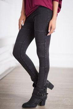 Fast Lane Moto Leggings - Black
