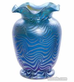 Durand Blue Luster Vase, Cylindrical, Shouldered, Turned In Scalloped Rim, White Coil, 7 In. (from Antique Price Guide | Kovels.com)