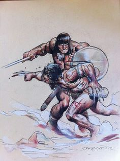 Conan vs Wolverine by Cary Nord
