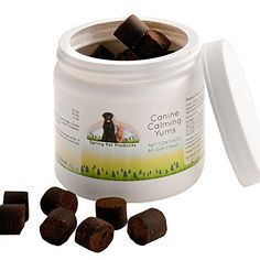 All Natural Calming Yums helps to soothe your pup during times of stress http://www.amazon.com/Hyperactivity-Discontentment-Evironmentally-Thunderstorms-L-Tryptophan/dp/B00M9K55YA/ref=cm_rdp_product
