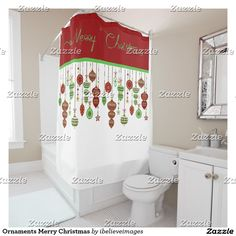 Shop Ornaments Merry Christmas Shower Curtain created by ibelieveimages. Christmas Shower Curtains, Christmas Bathroom, Colorful Shower Curtain, Christmas Cards, Merry Christmas, Flooring, Ornaments, Design, Home Decor