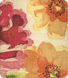 Marissa fabric; I have never been a 'floral' lover, but wouldn't this be a cheerful fabric to live with (favourite chair?)
