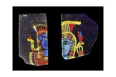 size: Giclee Print: Glass fragments, two half faces of the goddess Hathor, Ancient Egyptian, century BC by Werner Forman : History Of Glass, Ancient Egyptian Jewelry, Art Antique, Roman Art, Ancient Artifacts, Mosaic Glass, Find Art, Decanter, Canes