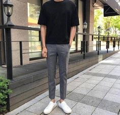 Plain black t-shirt, grey trousers, and white sneakers Korean Fashion Men, Korea Fashion, Mens Fashion, Fashion Outfits, High Fashion, Outfits Hombre, Stylish Mens Outfits, Korean Outfits, Mens Clothing Styles