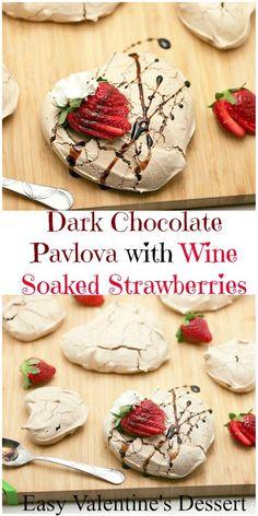Dark Chocolate Pavlova with Red Wine Soaked Strawberries