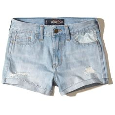 Hollister High-Rise Denim Short-Shorts ($45) ❤ liked on Polyvore featuring shorts, destroyed light wash, high waisted jean shorts, high-waisted jean shorts, ripped denim shorts, denim short shorts and distressed high waisted shorts