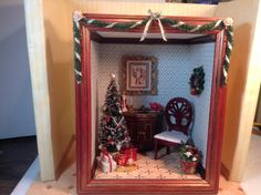 Front view of Christmas room box made with a frame and foam board. 10/29/2014
