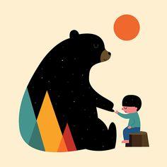 Storie di uomini e animali nelle illustrazioni minimal di Andy Westface | PICAME