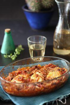 baccalà con cipolle e uvetta da Messinia