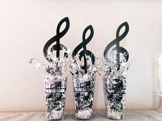Music centerpieces Music Centerpieces, Music Party Decorations, Banquet Centerpieces, Graduation Party Centerpieces, Party Themes, Party Ideas, Music Theme Birthday, Music Themed Parties, 70th Birthday Parties