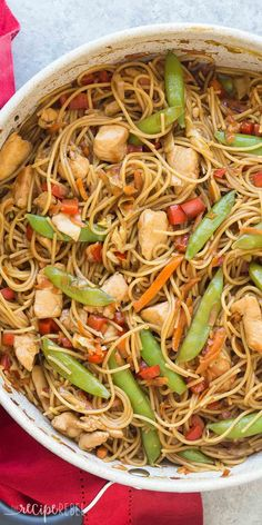 An easy, one pot version of Chicken Chow Mein – loaded with peppers, cabbage, peas and carrots it's an easy, healthy meal the whole family loves! You can say no to takeout and make this homemade Chicken Chow Mein in jus Healthy Dinner Recipes, Cooking Recipes, Healthy Meals, Oven Recipes, Healthy Soup, Healthy Chicken, Drink Recipes, Easy Recipes, Chicken Chow Mein
