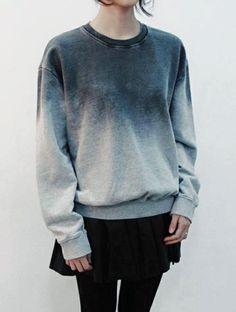 Wheretoget - Tie-die blue sweatshirt, black skirt and black leggings