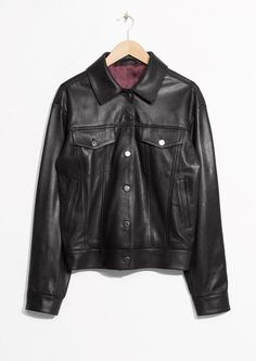 & Other Stories image 1 of Leather Jacket in Black