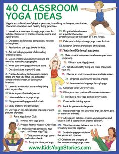 40 Classroom Yoga Ideas (free printable)   Kids Yoga Stories