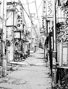 background background city Drawing the Naked City: Shohei Cityscape Drawing, City Drawing, Environment Sketch, City Sketch, Background Drawing, Background Patterns, Japon Illustration, Perspective Art, Landscape Drawings