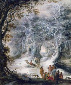宿営する放浪の民のいる冬の風景 ヘイスブレヒト・リテンス