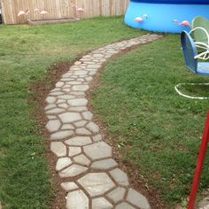 Concrete cobblestone walkway. Inexpensive, but time consuming way ...