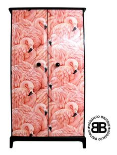 Stunning Upcycled Stag Wardrobe with Fabulous Flamingos Decoupage in Home, Furniture & DIY, Furniture, Wardrobes | eBay