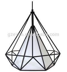 Modern Scandinavian Minimalist Bird Cage Lamp Art Diamond Pyramid Pendant Light Vintage Iron Pendant Rustic Light