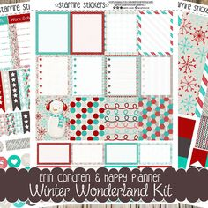 Printable winter themed red, teal, brown and cream planner stickers for personal use. This set includes 3 pages worth of  Silhouette Studio Cut files, PDF files and JPEG files for both Erin Condren Life Planner and Happy Planner.