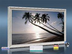 """Lust auf Urlaub? Die Infrarot Bildheizung 600 Watt """"Barbados"""" mit Stilrahmen antik weiß bringt karibische Wärme ins Haus...."""