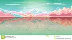 Mountain Sea Beach Landscape Rocky Alps Lake Stock Vector - Illustration of farm, flat: 112981798