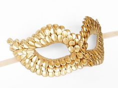 Gold Masquerade Mask With Dragon Scales - Metallic Gold Venetian Mask - Gold…