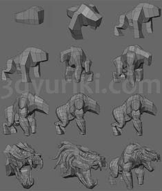 Пошаговый процесс 3D-моделирования существа