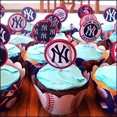 I made this New York Yankees paper cupcake toppers for my daughter's birthday party.  I found the images online and printed them out onto photo paper.  I then matted them onto cardstock and attached them toothpicks.  Please visit my Yankees party supplies page for more unique birthday ideas and supplies.