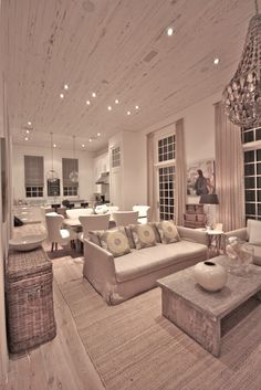 I love this whole entire look...kitchen, dining & living room!