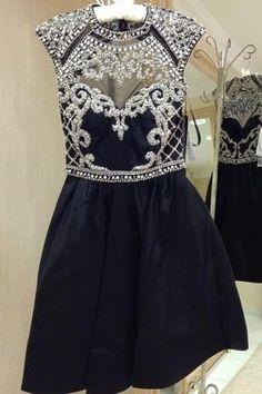 See Through Black Prom Dresses,Short Prom Dresses,Short Formal Dresses,Women…