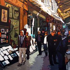 Rue du trésor, Patrick Kinn  #Art #Quebec #Toile #Artwork #peinture #painting #artist #Canada #HomeDecor Rue, Artwork, Art Gallery, New York, Canada, Painting, Fictional Characters, Oil On Canvas, Artist