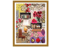 Original collage art, home feelings theme, festive mood, interior decoration - Collage IV