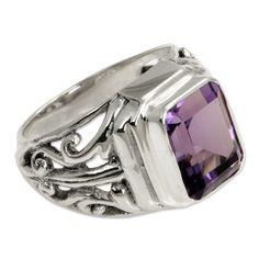 Novica Wisdom Warrior Handmade Artisan 3 Carat Bezel Set Amethyst Stone in 925 Sterling Silver Mens Dress Ring