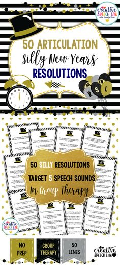 This clever speech therapy New Years activity is designed to motivate and bring some laughs into your mixed articulation therapy group sessions!