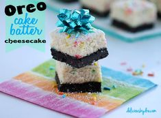 oreo cake batter cheesecake bars...  you will not believe these are made healthier with greek yogurt and protein powder!!!