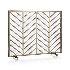 Chevron Brass Fireplace Screen | Crate and Barrel