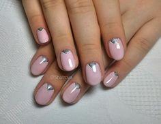 Accurate nails, Beautiful nails 2016, Easy nail designs, Half-moon nails ideas, Office nails, Oval nails, Pale pink nails, Shellac nails 2016