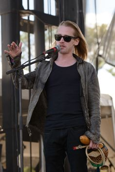 Macaulay Culkin of The Pizza Underground performs on stage at Riot Fest Chicago 2014 at Humboldt Park on September 13 2014 in Chicago United States